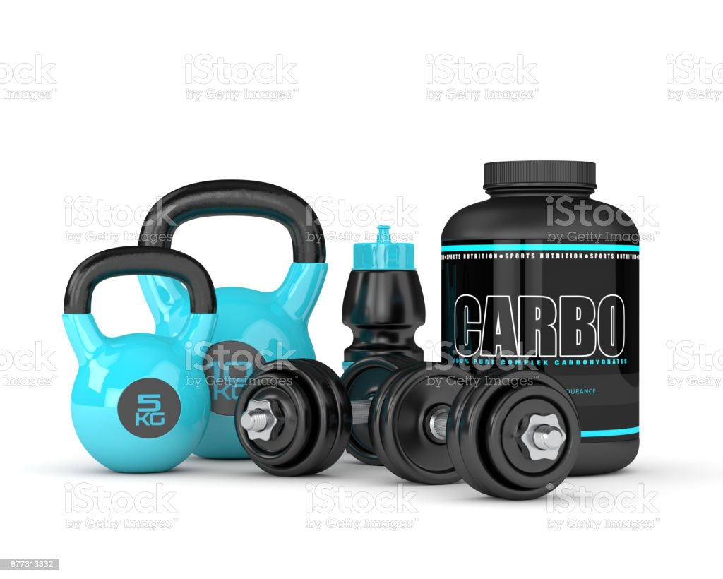 3d render of carbo powder jar with kettlebells and dumbbells