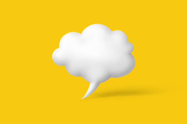 3d render of cartoon speech bubble isolated on yellow background stock photo