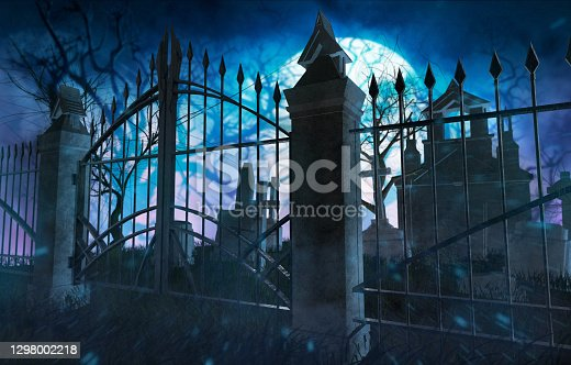 Horror full moon cemetery with metal gates, tombstones and crypts.