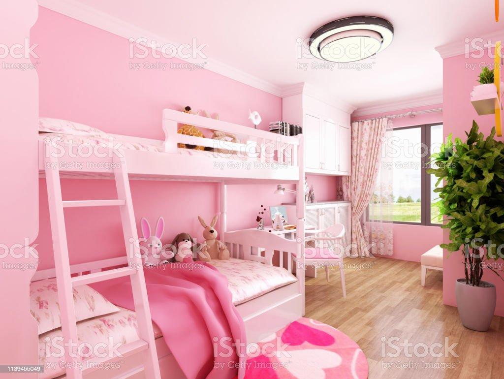 Chambre Enfant Bleu Et Rose photo libre de droit de rendu 3d de la chambre denfant en