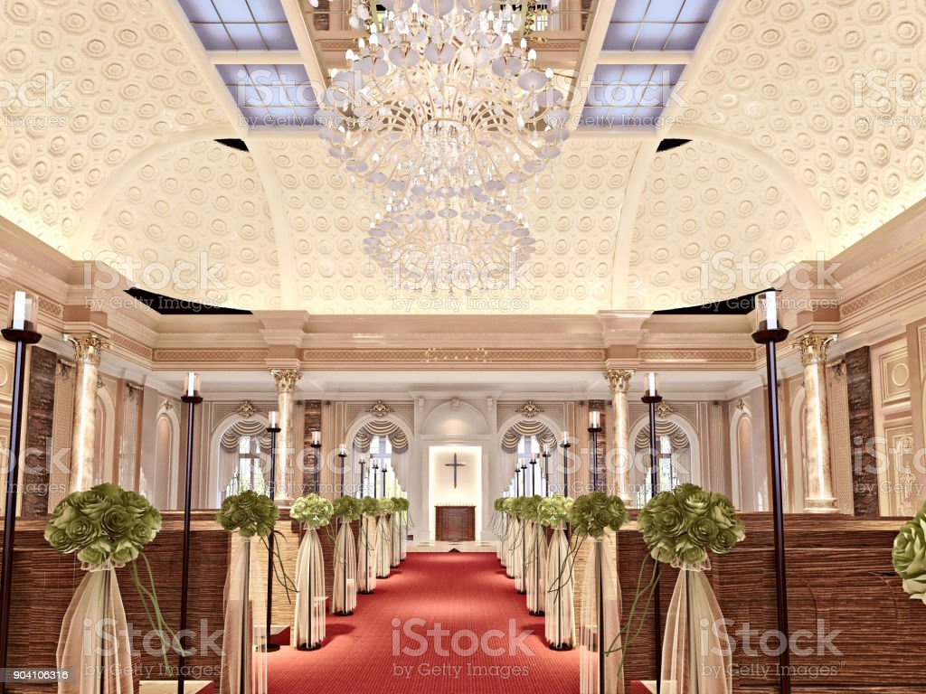 3d render of church interior design stock photo