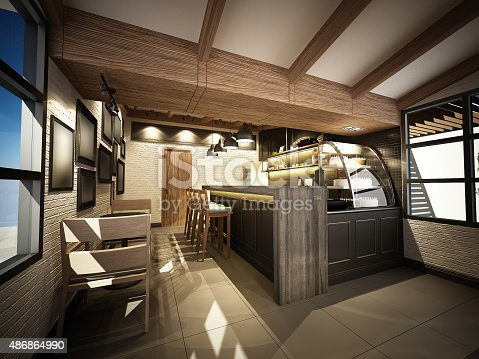 istock 3d render of coffee shop ,3dwire frame render 486864990