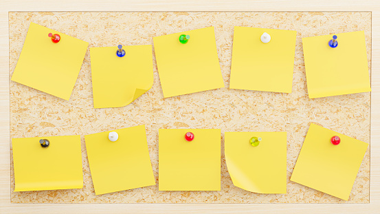 3d render of collection yellow sticky notes plugged into a plywood board for your mockup