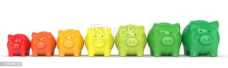 3d render of coloured piggy banks isolated over white background. Energy efficiency concept