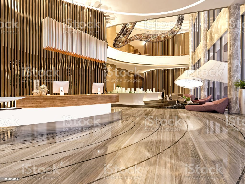 3d render of commercial building interior and reception stock photo