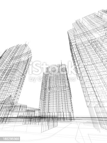 988484300 istock photo 3d render of contemporary building in wire frame layout. 185295365