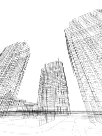 istock 3d render of contemporary building in wire frame layout. 185295365
