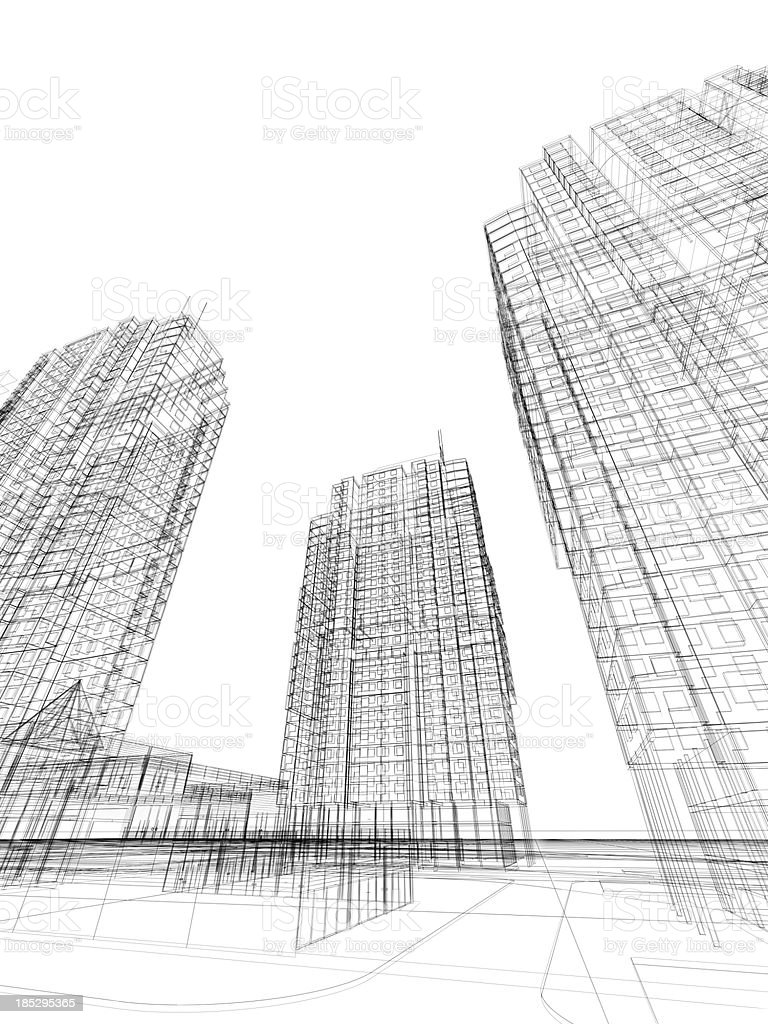 3d render of contemporary building in wire frame layout. stock photo