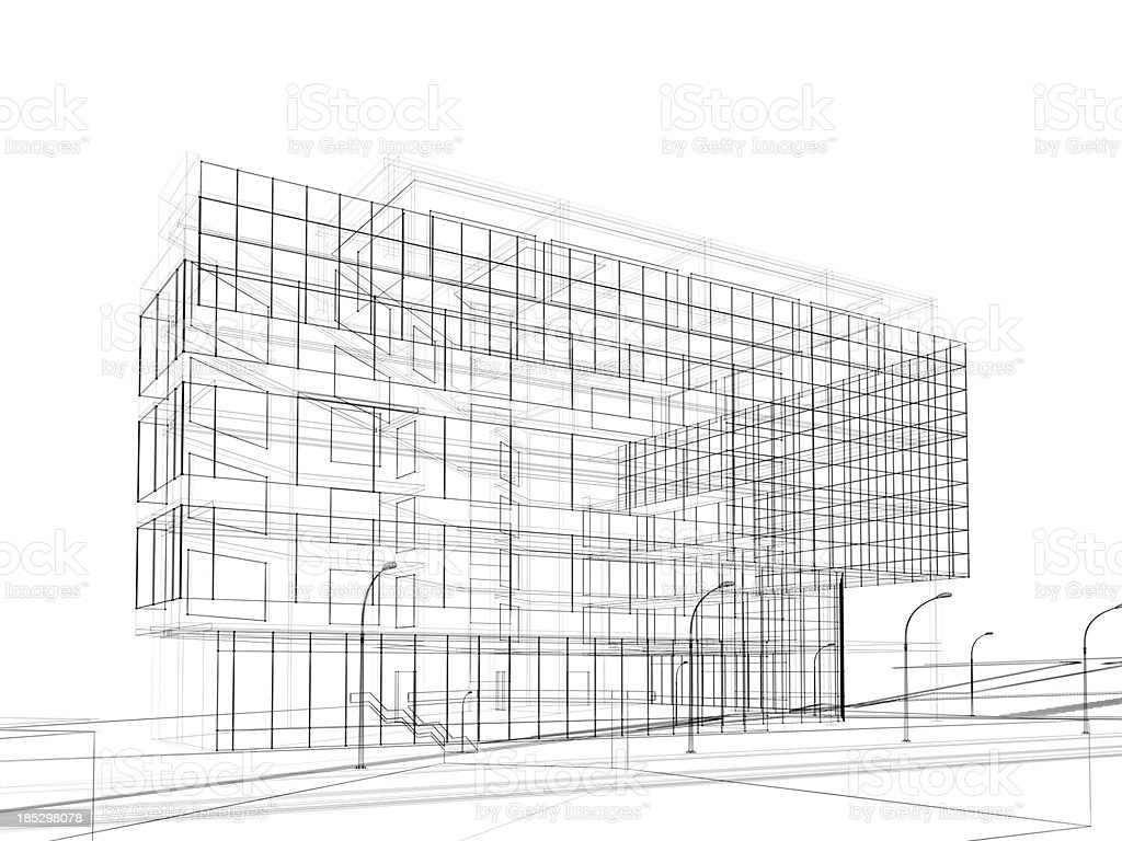 3d render of contemporary building in wire frame layout. royalty-free stock photo