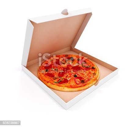 istock 3d render of delicious pizza and box on white background 528238867