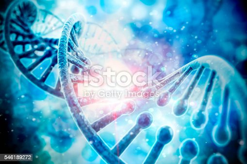 istock 3d render of dna structure, abstract  background 546189272