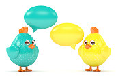 3d render of Easter chicks with speech bubbles isolated on white background