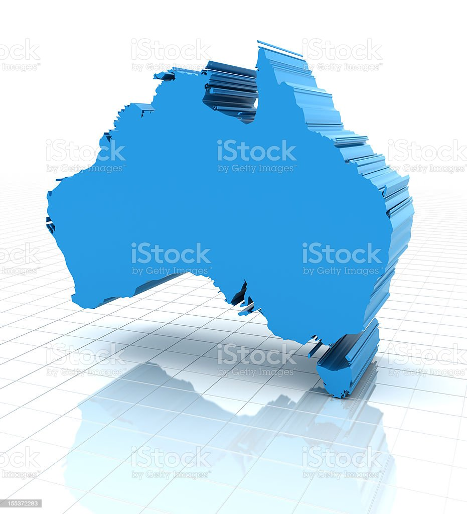 3d render of extruded Australia map royalty-free stock photo