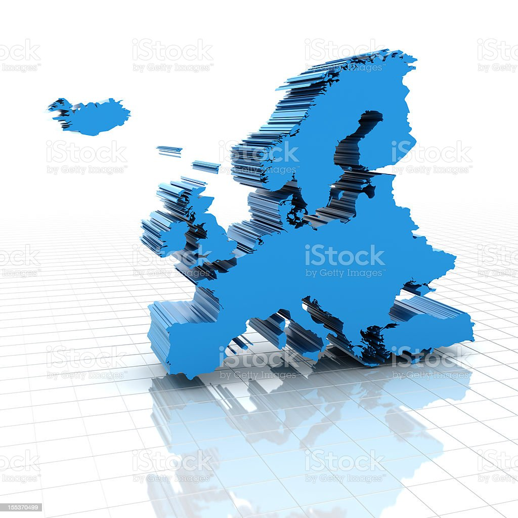 3d render of extruded Europe map royalty-free stock photo