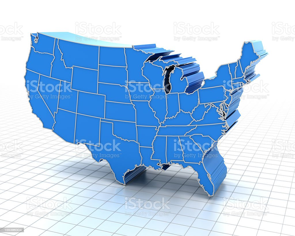 3d render of extruded USA map stock photo