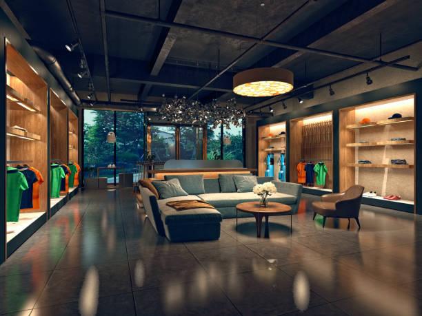 3d render mode winkel interieur - kledingwinkel stockfoto's en -beelden