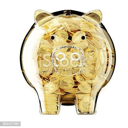 184640907 istock photo 3d render of glass piggy bank full 534427491