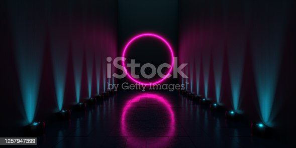 3d render of glowing purple neon light in a dark showroom while spotlights hit the wall. Background and technology concepts. Easy to crop for all print and social media sizes. Copy space.