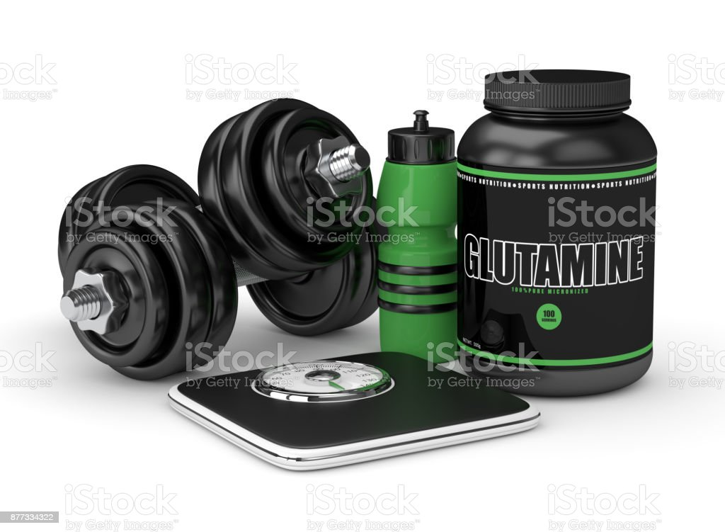 3d render of glutamine with dumbbells, scale and bottle stock photo