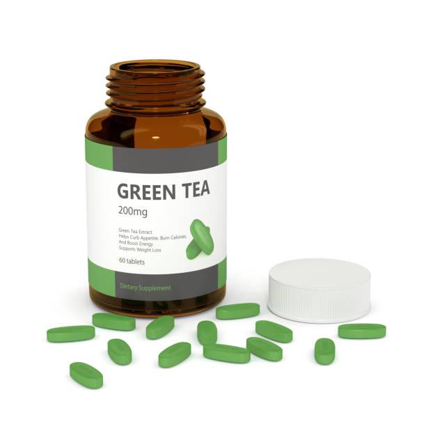 3d render of green tea container with pillen - grüner tee kapseln stock-fotos und bilder