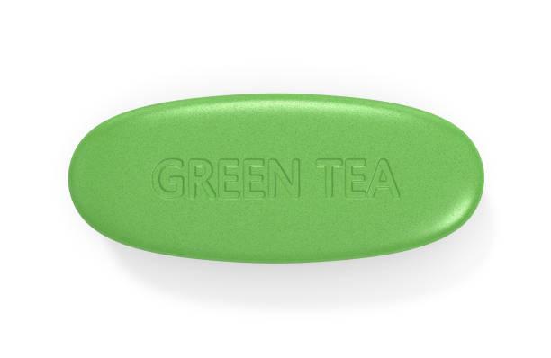 3d render of green tea pill - grüner tee kapseln stock-fotos und bilder
