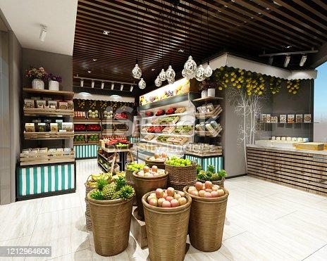 3d render of Supermarket Grocery Shop