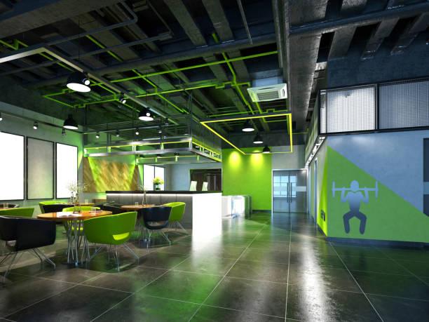 render 3d do centro de aptidão da ginástica e do espaço do assento - comodidades para lazer - fotografias e filmes do acervo