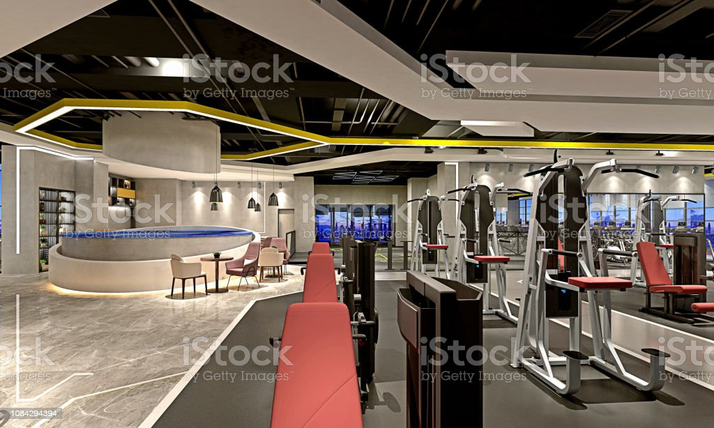 3d Render Of Gym Sport Saloon Stock Photo - Download Image Now - iStock