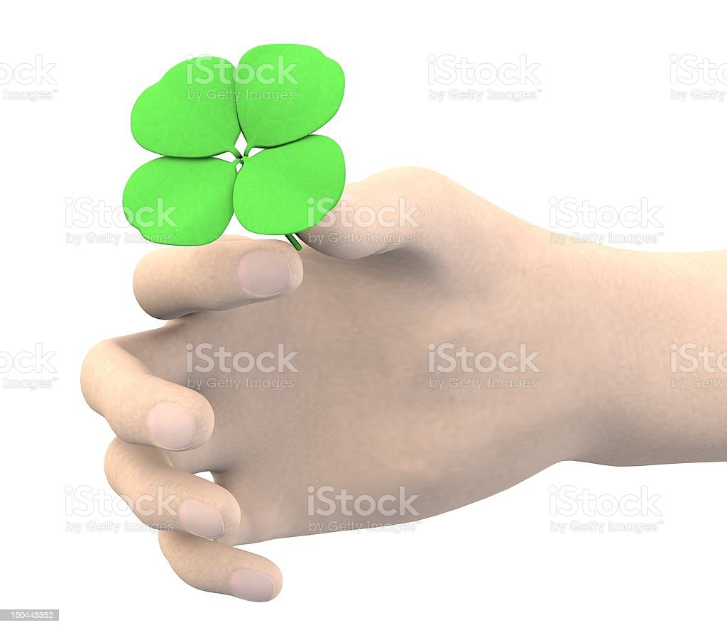 3d render of hand with 4 leaf royalty-free stock photo