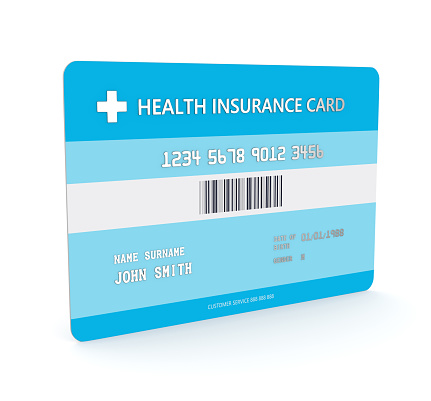 3d Render Of Health Insurance Card Over White Stock Photo ...