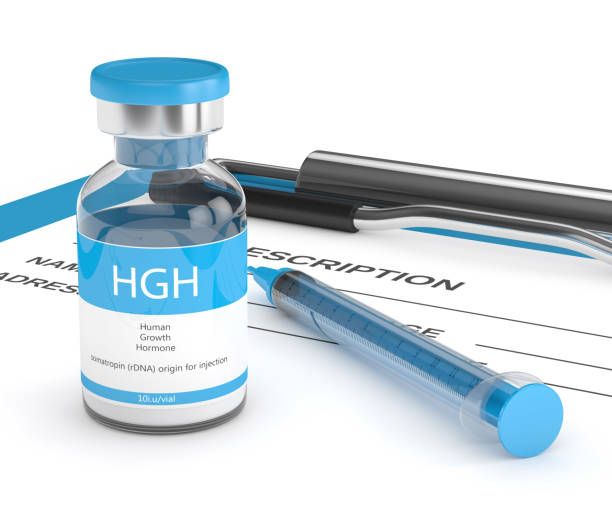 3d render of HGH vial with syringe on clipboard stock photo