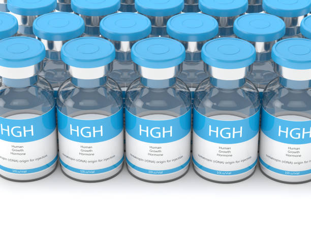 3d render of hgh vials in row - deficient stock pictures, royalty-free photos & images