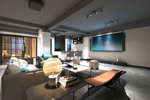 3d render of home cinema room 3d render of home cinema room stereo stock pictures, royalty-free photos & images