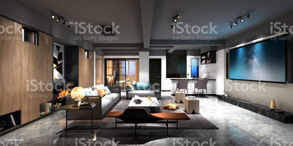 3d render of home cinema room 3d render of home cinema room Apartment Stock Photo
