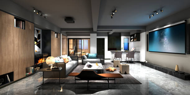 3d render of home cinema room 3d render of home cinema room man cave couch stock pictures, royalty-free photos & images