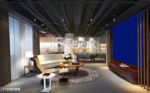 3d render of home cinema room