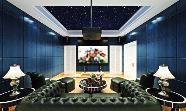 3d render von heimkino-theatersaal - film oder fernsehvorführung stock-fotos und bilder