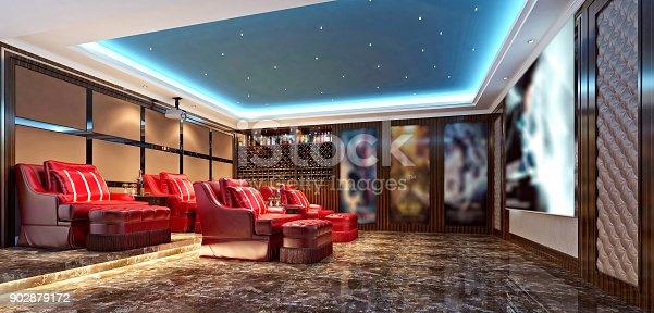 3d render of home cinema theatre room