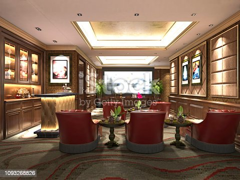 3d render of home theater room