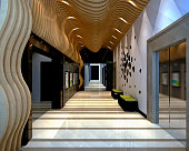 3d render of hotel building corridor