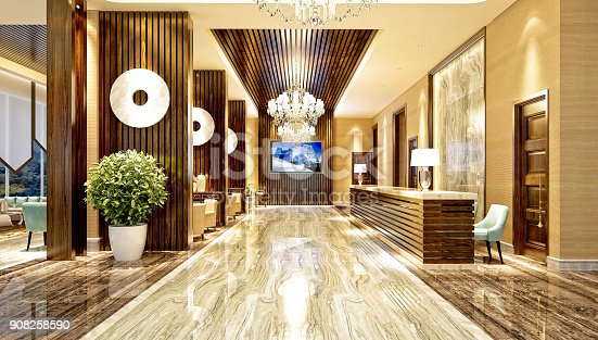 istock 3d render of hotel entrance and reception 908258590