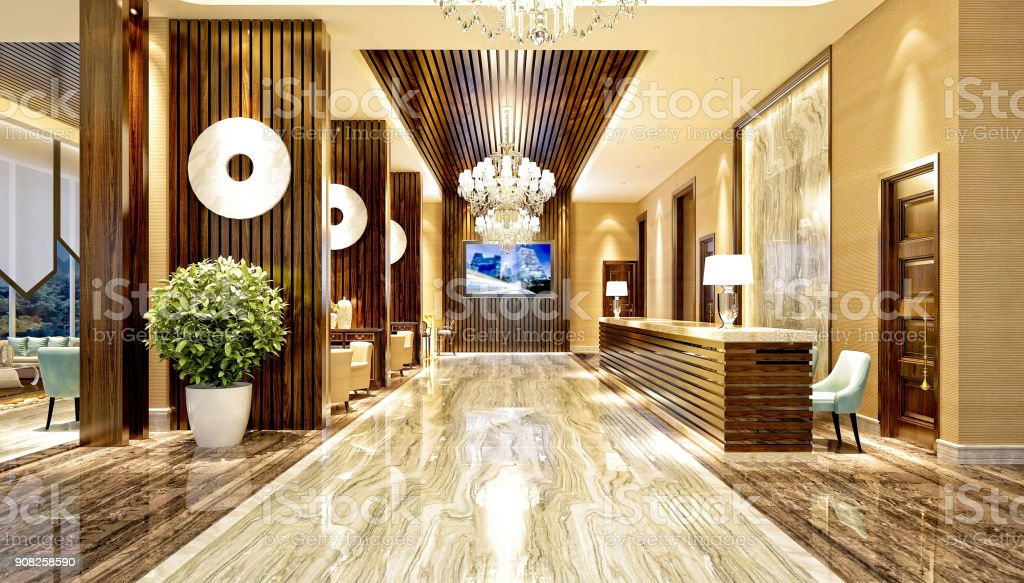 3d render of hotel entrance and reception stock photo