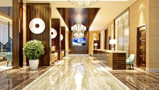 3d render of hotel entrance and reception - entrance stock photos and pictures