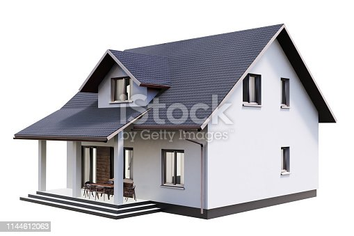 3d render of modern house isolated on a white.3d render of house isolated on a white.