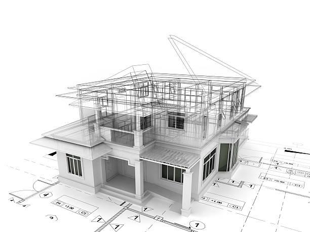 3 d render of house auf plan – Foto