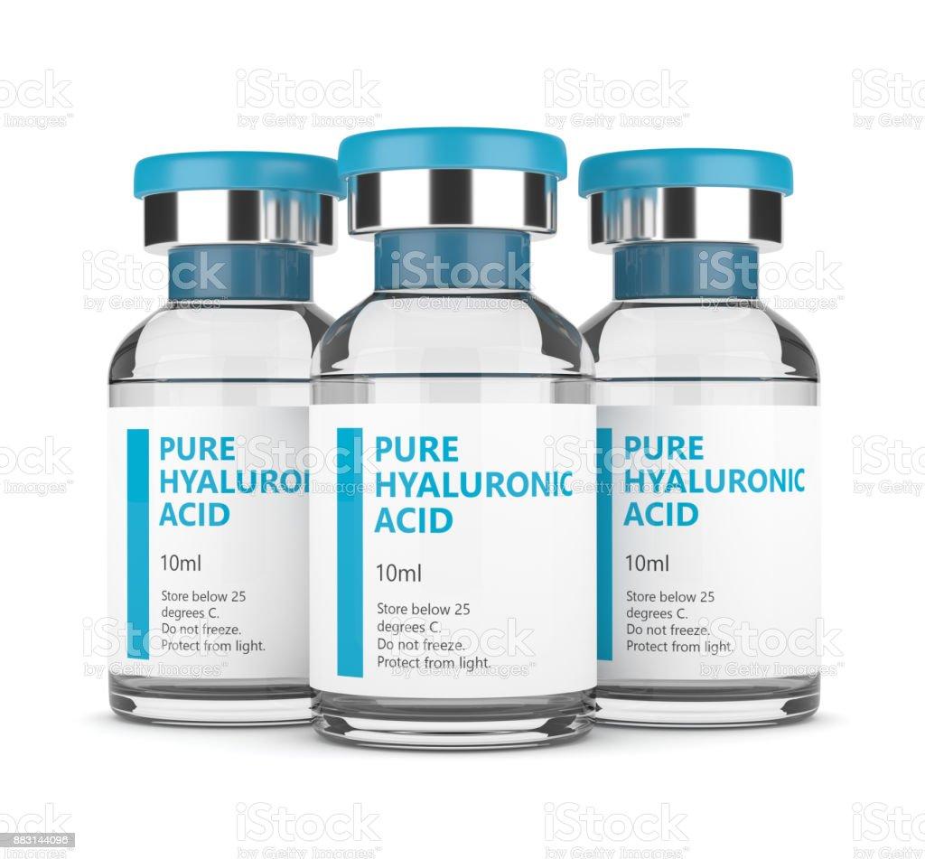 render 3D de viales de ácido hialurónico - foto de stock