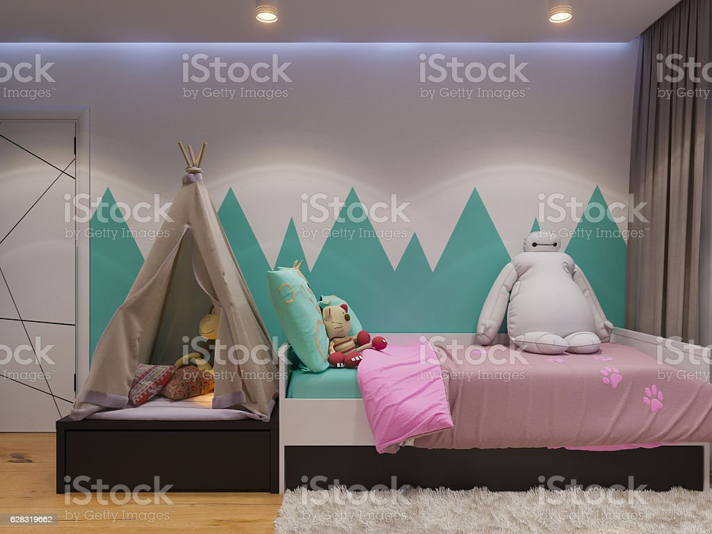3d render of interior design children's room stock photo