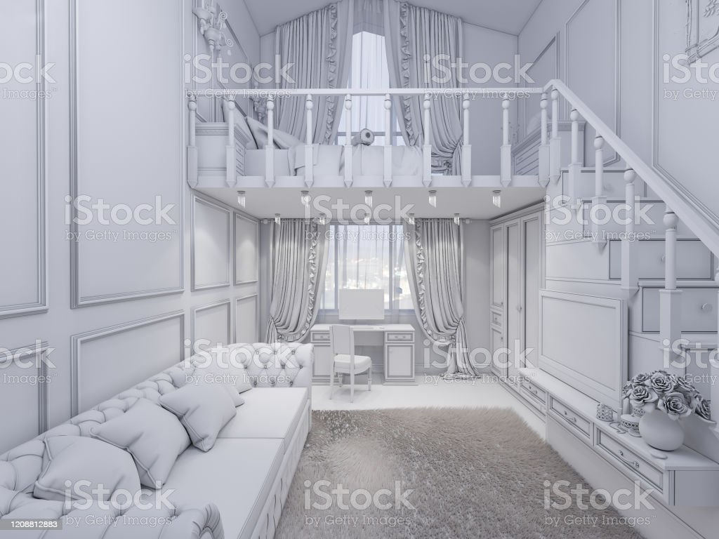3d Render Of Interior Design Of A Girls Bedroom In A Private House Stock Photo Download Image Now Istock