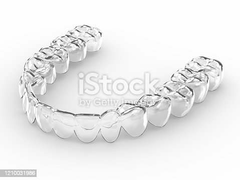 3d render of invisalign removable and invisible retainer over white background