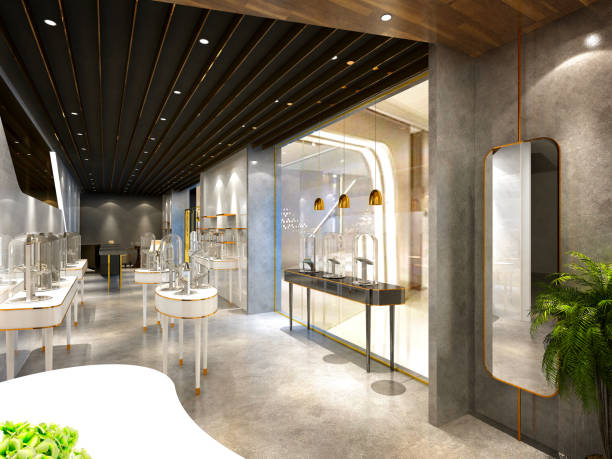 3d render of jewelry products showroom interior 3d render of jewelry products showroom interior jeweller stock pictures, royalty-free photos & images